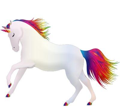 Rainbow color unicorn. Representation of variety and imagination.