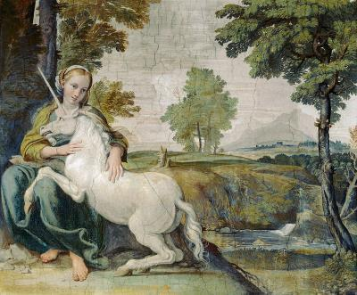 Unicorn with a virgin woman. Both represent untaintedness and purity.