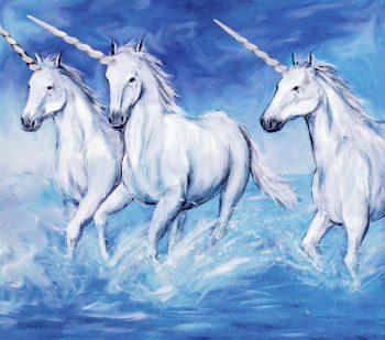 3 unicorns running in the sea