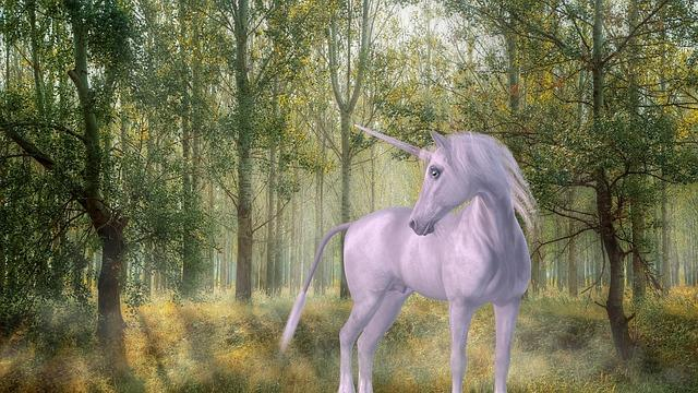 Unicorn in a magical forest. They often represents pureness and Innocence.
