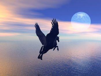 Pegasus flying over the ocean.