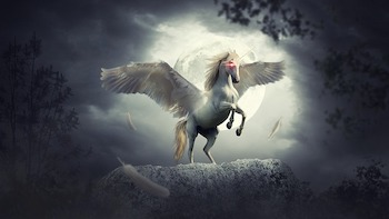 Unicorn with wings ready to take off