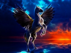 Pegasus as horse with the wings from the Greek mythology in the mystical background.