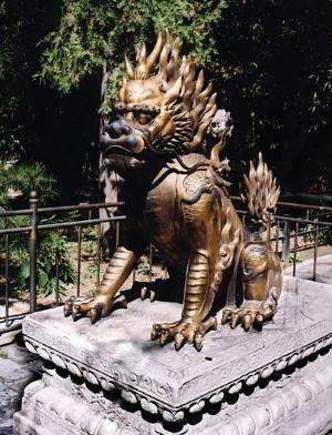 Statue of Qilin, a symbol for good fortune.