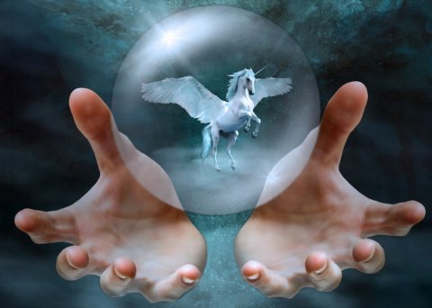 Winged unicorn in mystical glass bowl.