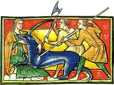 Taming of Unicorn in a Medieval illustration