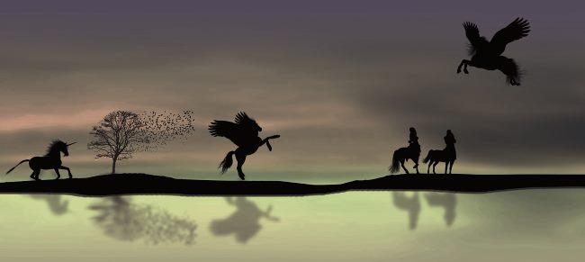 Unicorns in a magical night dream.