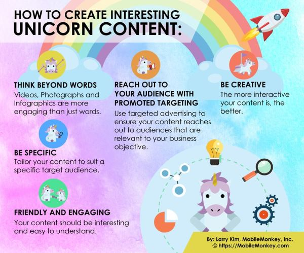 Unicorns used to visually illustrate business tips.