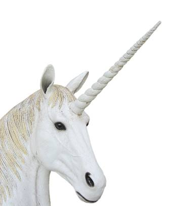 White unicorn with a spiralling horn.