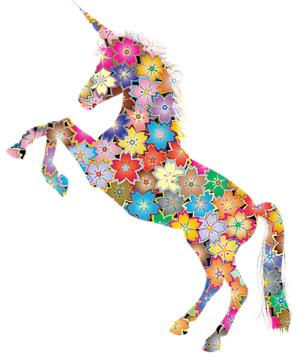 Unicorn decorated by many colors and flowers.