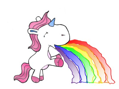 A cute unicorn puking rainbow colors.