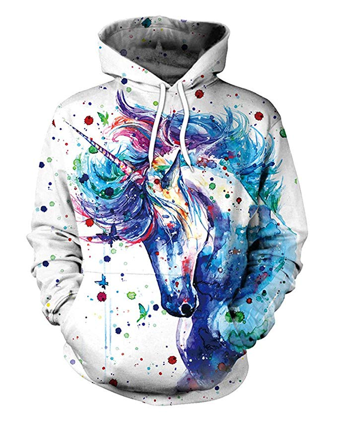 Colorful unicorn hoodie for real fantasy lovers.