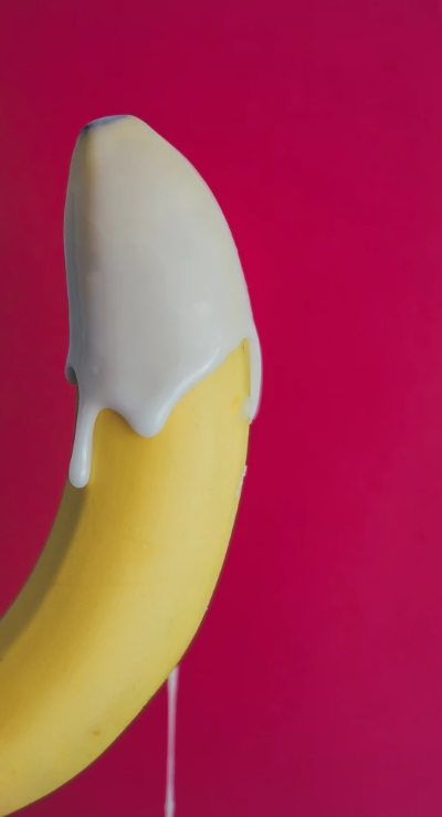 Banana covered with cream