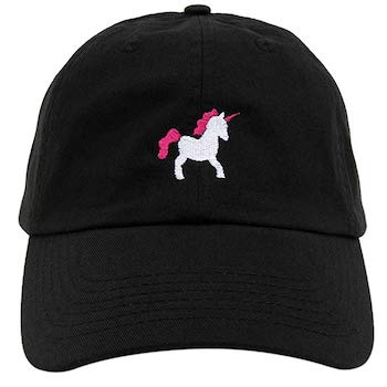 Minimalistic and simple black unicorn cap with a small embroidered unicorn - suitable for a unicorn fan in every age.