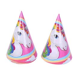 Unicorn party cones as perfect headwear for adults and kids both on unicorn theme party.