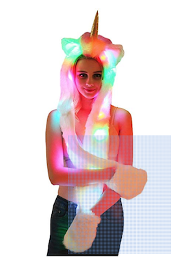Sensational and unique unicorn headware with lights and pockets for adults unicorn party.