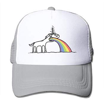Funny unicorn hat for adults with unicorn vomiting rainbows pictures on it.