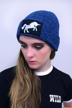 Casual beanie with silver holographic unicorn - winter hat for adults.
