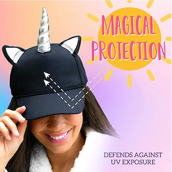 Black unicorn cap for adults with silver unicorn horn and ears.