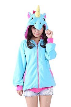 Cozy and warm unicorn cosplay hoodie- for adults to look like a unicorn.