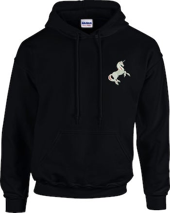 Black unicorn hoodie for adults who love minimalism and simplicity but are still in fond of unicorns.