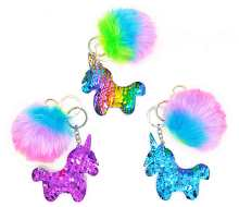 Colorful and fluffy unicorn keyrings
