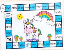 Unicorn board game for 3-6 year old kids
