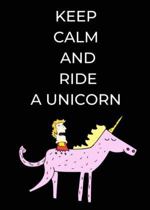 """""""Keep kalm and ride a unicorn"""" meme"""
