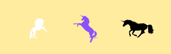 3 unicorns: black, white, purple