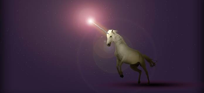 Unicorn with the light on the top of its horn