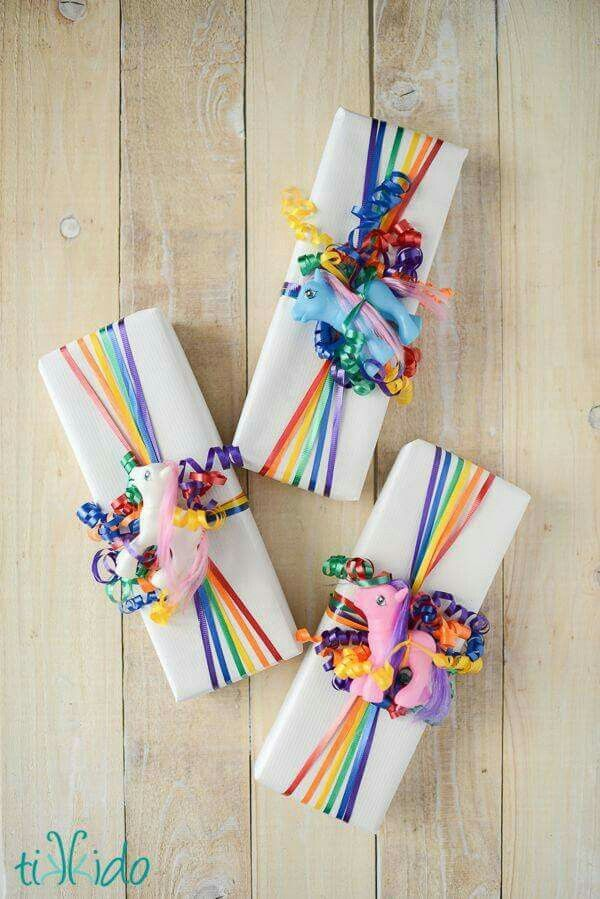 Rainbow Unicorn Gift Wrapping Idea with My Little Pony Toy