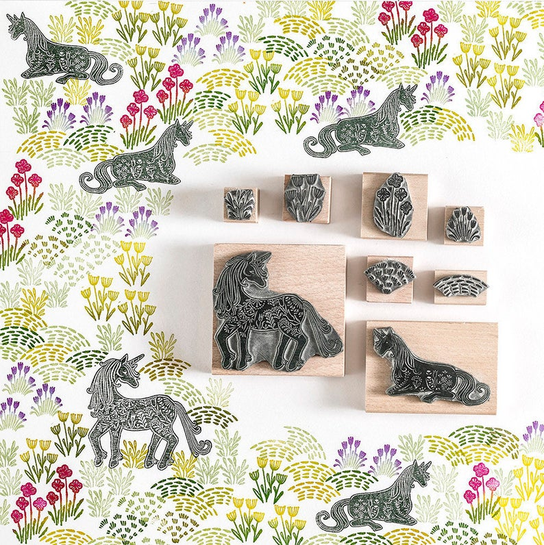 Unicorn rubber stamps for magical wrapping paper