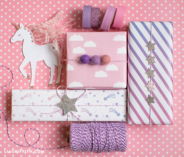 Printable unicorn wrapping papers.