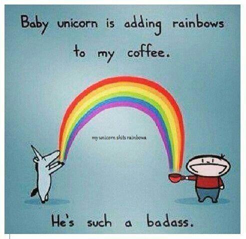 Meme with unicorns and rainbbows